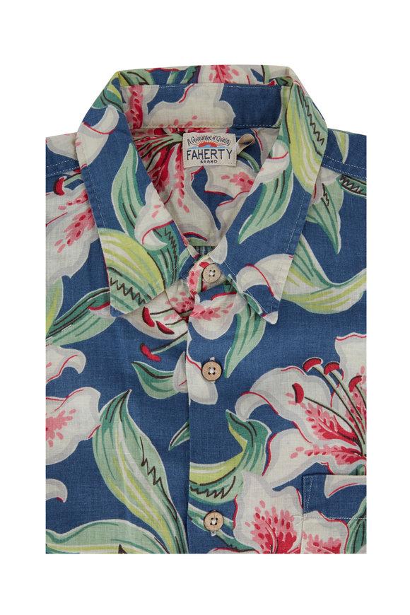Faherty Brand Hawaiian Linen Blend Short Sleeve Sport Shirt