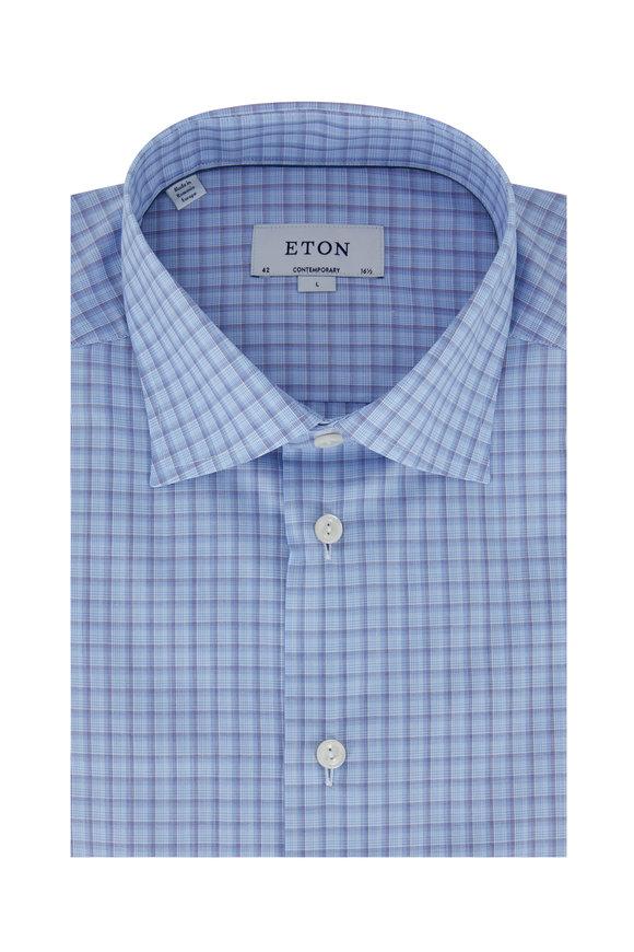 Eton Light Blue Check Contemporary Fit Dress Shirt
