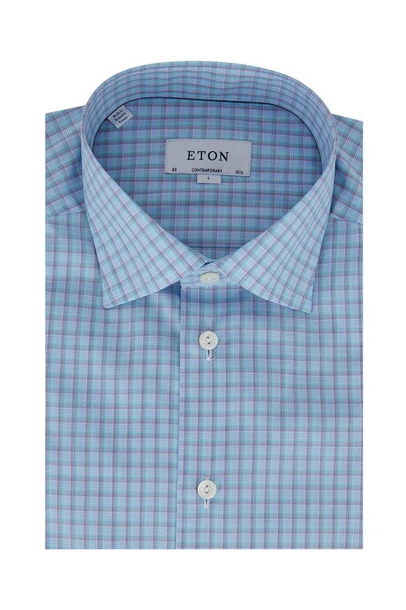Eton Green & Blue Check Contemporary Fit Dress Shirt