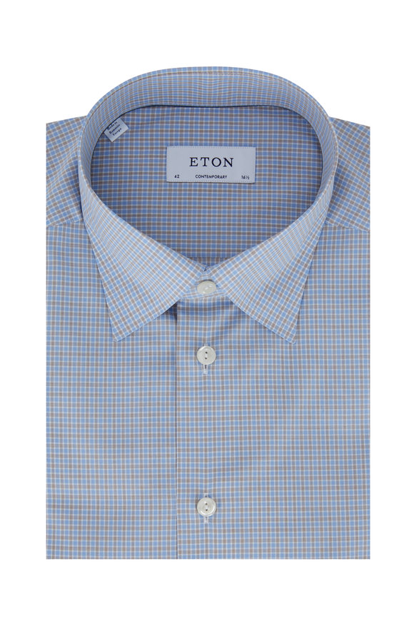 Eton  Light Blue Plaid Contemporary Fit Dress Shirt