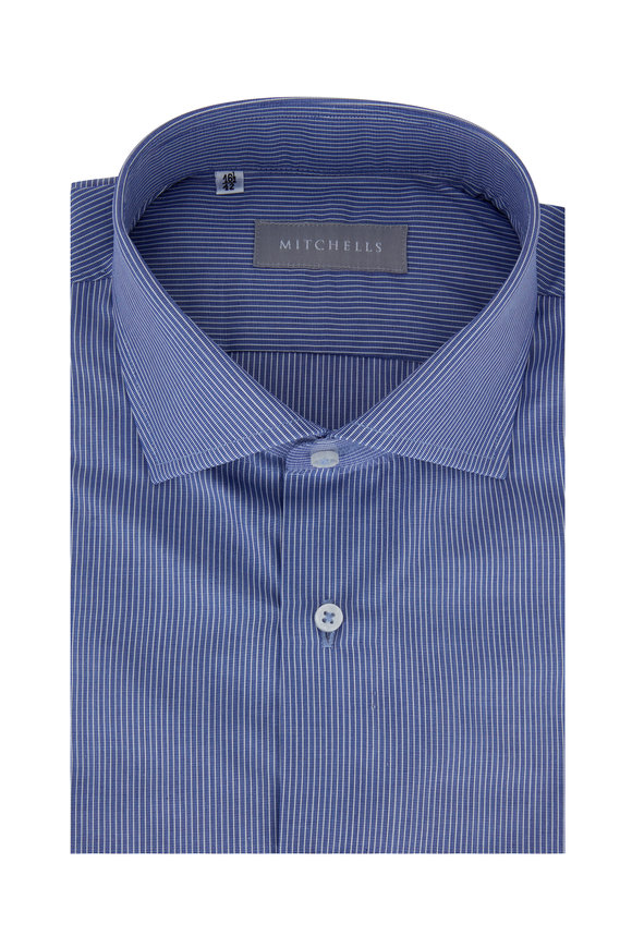 Altem Flowers Blue & Multicolored Striped Dress Shirt