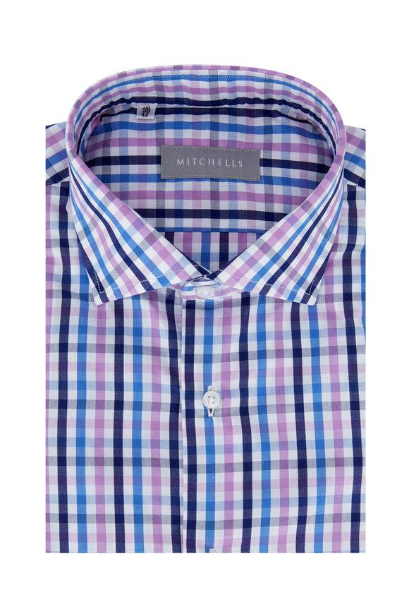 Altem Flowers Blue & Purple Gingham Dress Shirt