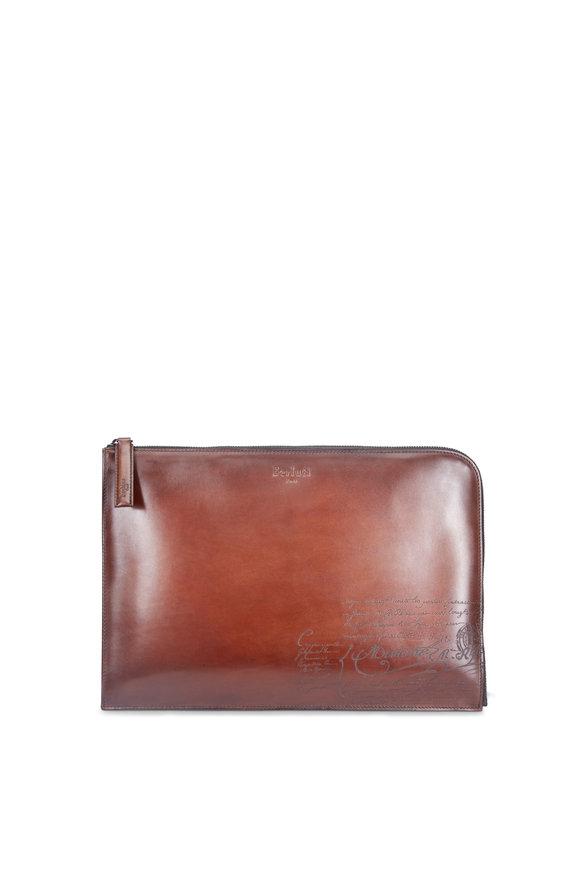 Berluti Nino Large Engraved Calf Leather Clutch