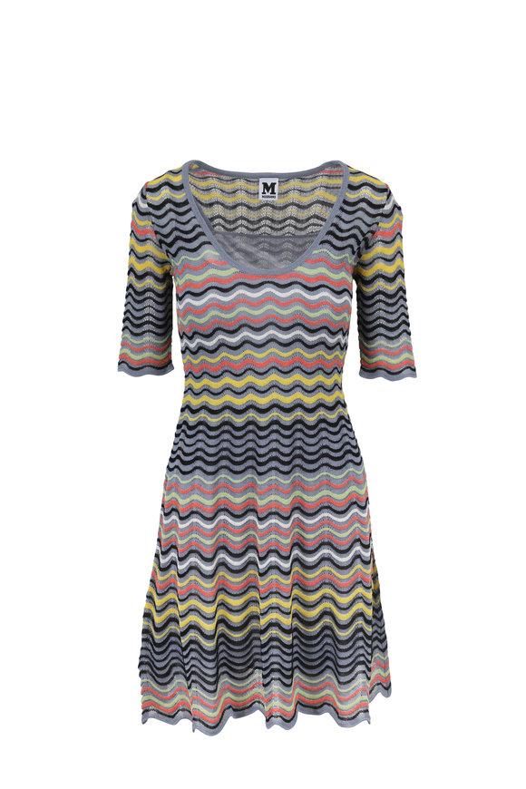 M Missoni Gray Multicolor Elbow Sleeve Scoop Neck Dress