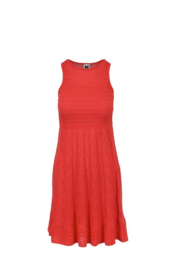 M Missoni Coral Textured Knit Sleeveless Mini Dress