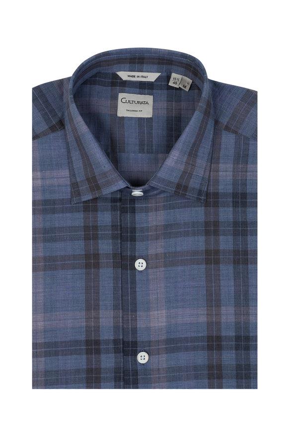 Culturata Blue & Gray Plaid Sport Shirt