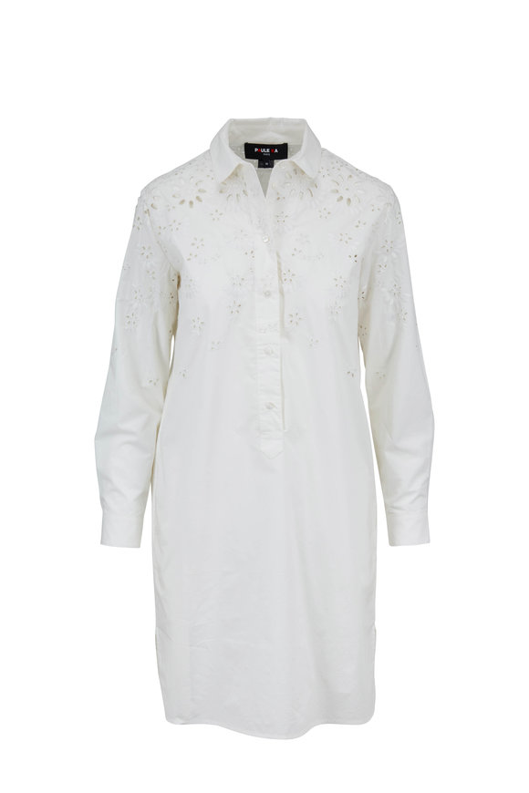 Paule Ka White Poplin Eyelet Embroidered Shirt Dress