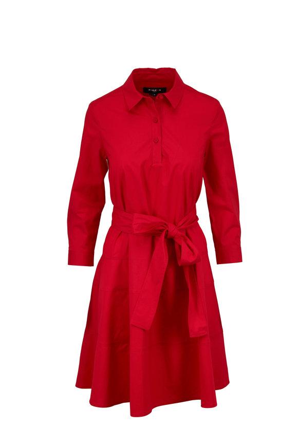 Paule Ka Red Stretch Poplin Fit & Flare Shirt Dress