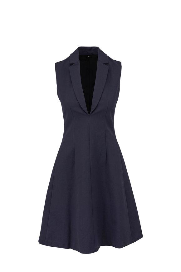 Paule Ka Navy Deep-V Puff Dress
