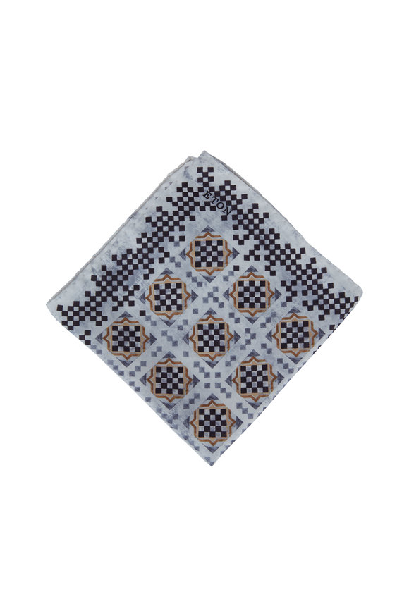 Eton Gray Geometric Pattern Silk Pocket Square