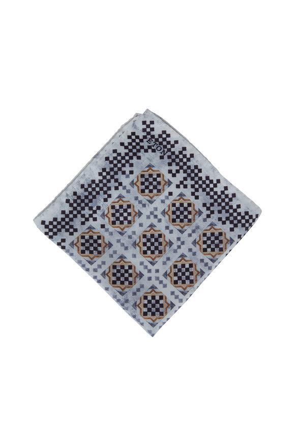 Eton Gray Geometric Pattern Silk Pocket Square