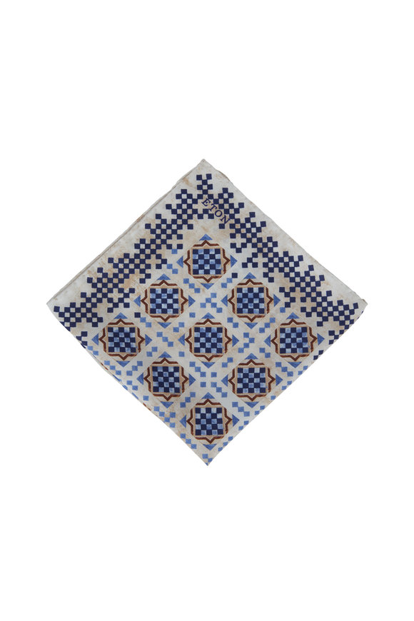 Eton Blue & White Geometric Pattern Silk Pocket Square