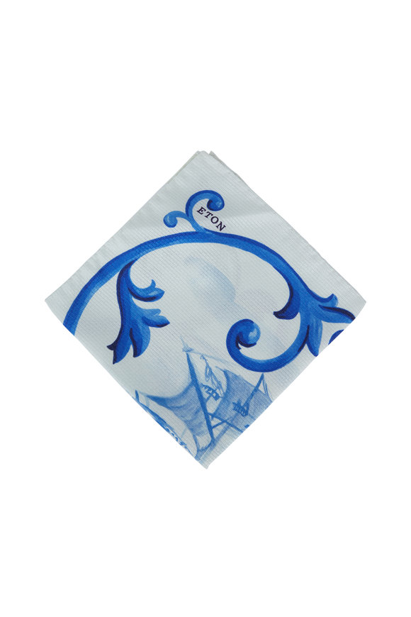 Eton Blue Ship Print Silk Pocket Square