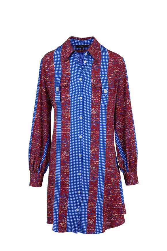 Derek Lam Baltic Blue Abstract Gingham Print Dress