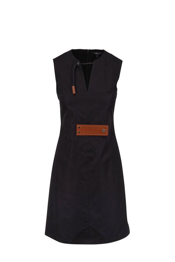 Derek Lam Black Poplin Sleeveless Leather Tab Dress