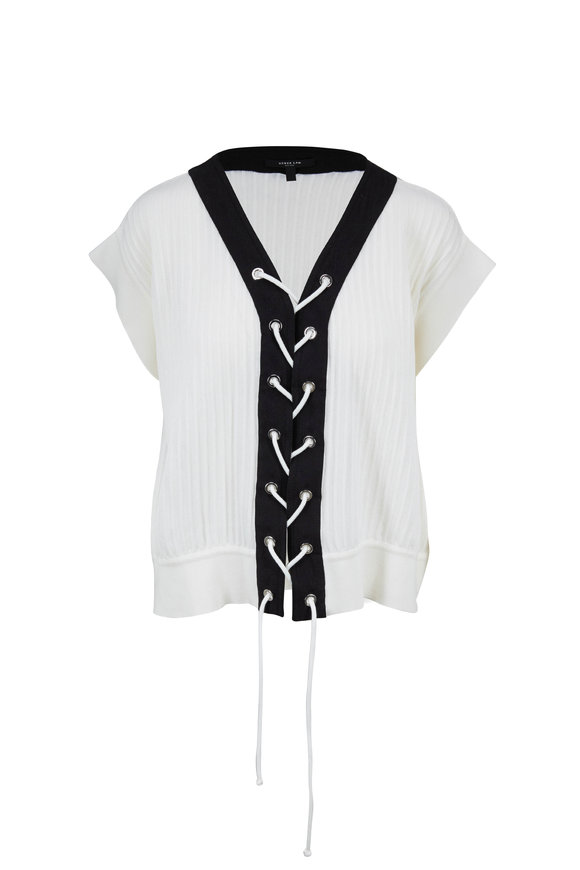 Derek Lam White & Black Crop Lace Up Sweater