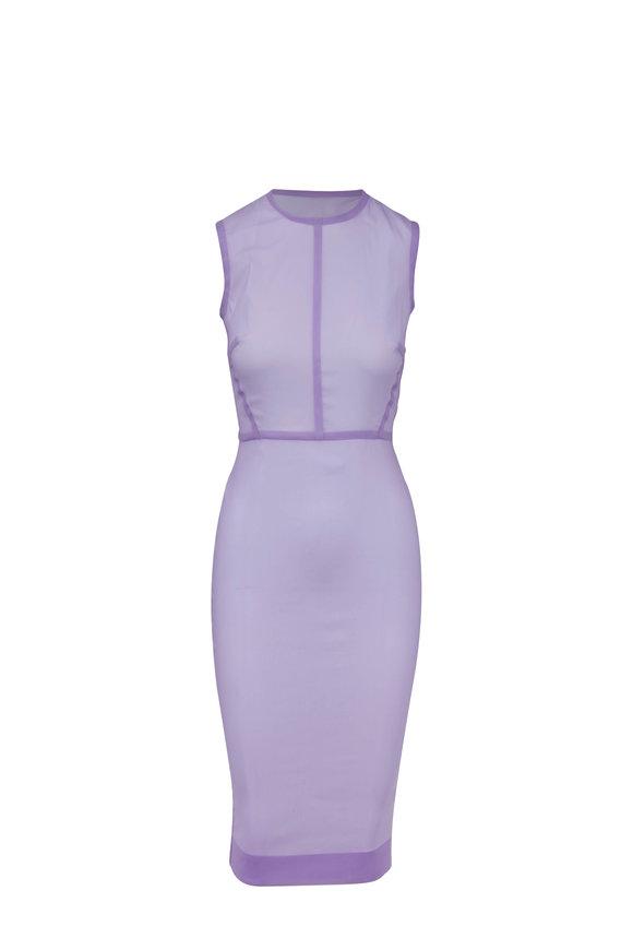 Victoria Beckham Lilac Stretch Organza Sleeveless Fitted Dress