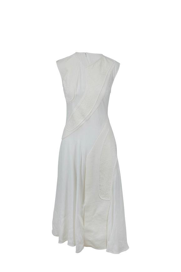 Victoria Beckham Off-White Mesh & Silk Patchwork Drape Midi Dress