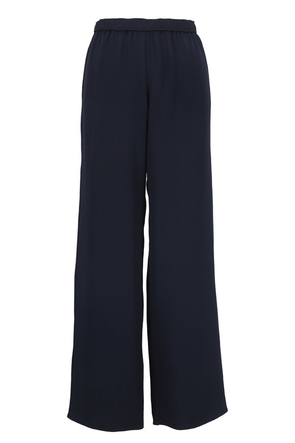 Peter Cohen Navy Blue Silk Pull-On Pant