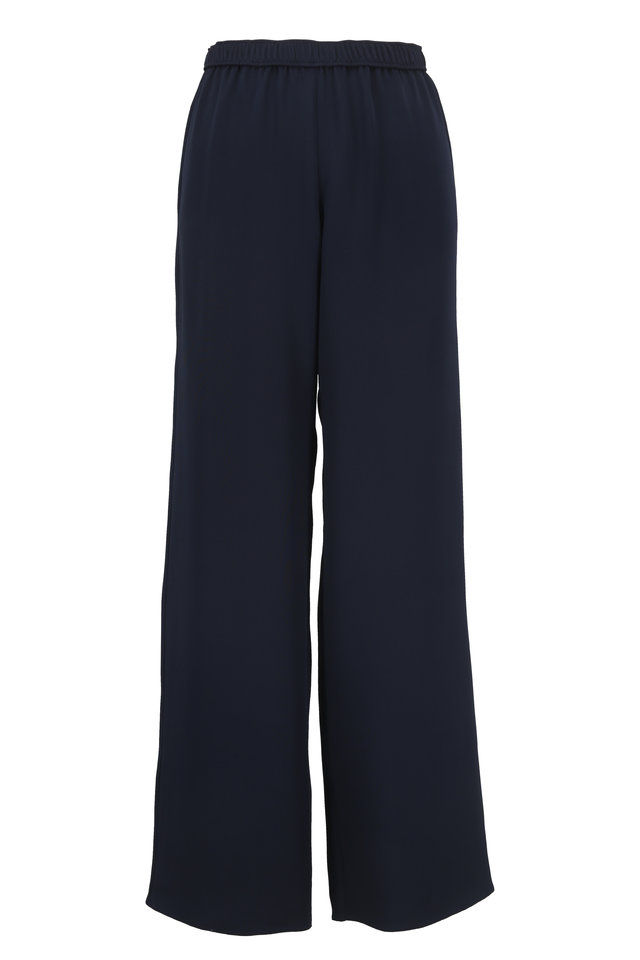Navy Blue Silk Pull-On Pant