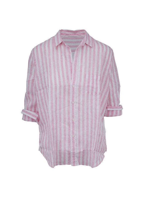 Frank & Eileen Eileen Pink Linen Wide Multi Striped Button Down