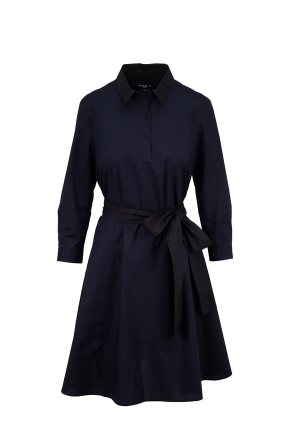 Paule Ka Navy Blue Fit & Flare Belted Dress