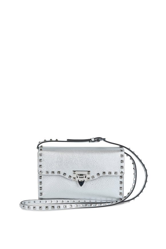 Valentino Rockstud Silver Pebbled Leather Shoulder Bag