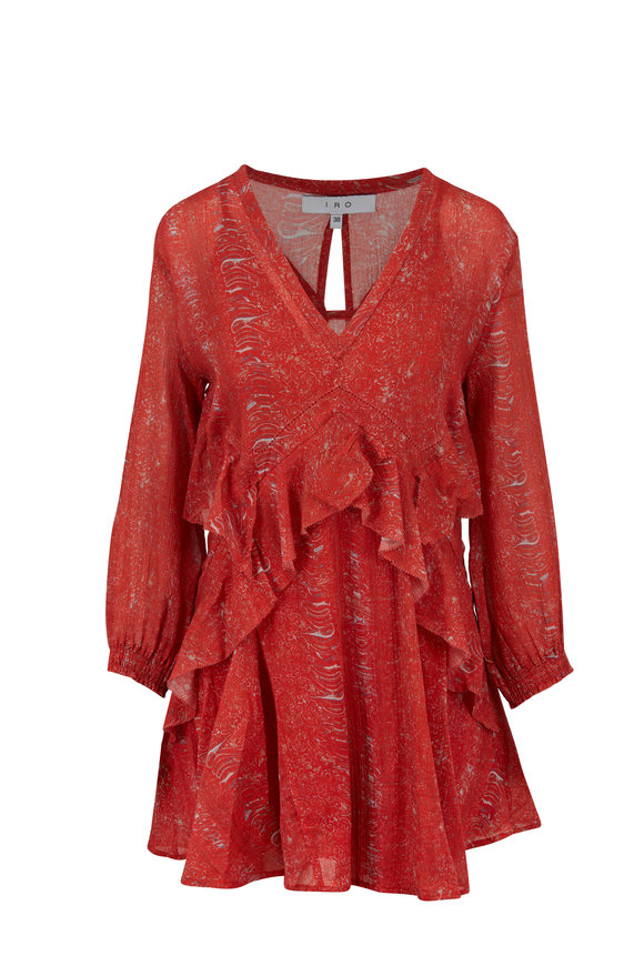IRO Ilacie Red Printed Cotton Voille Ruffled Dress