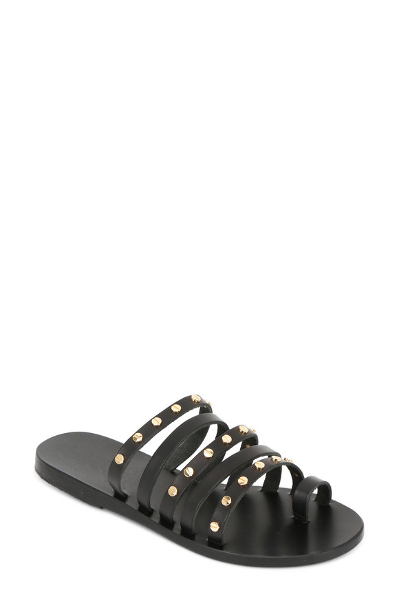 Ancient Greek Sandals Niki Nails Black Leather Studded Sandal