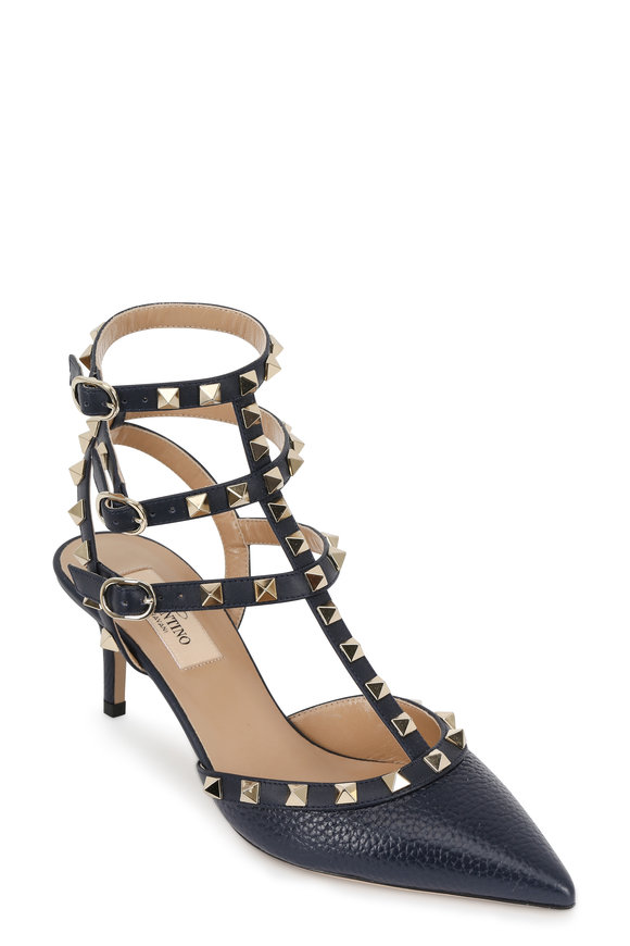 VALENTINO GARAVANI Rockstud Navy Blue Leather Pump, 65mm