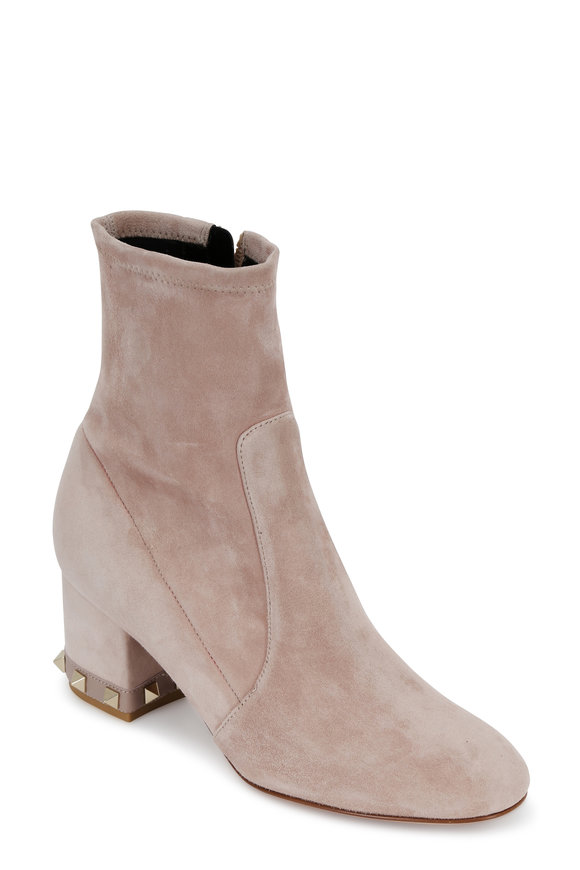 Valentino Rockstud Poudre Suede Ankle Boot, 60mm