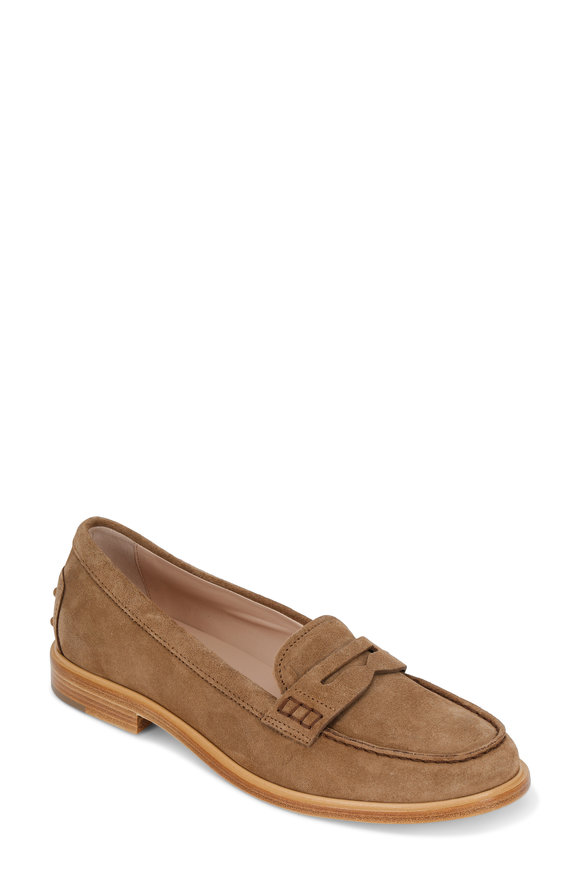 Tod's Tan Suede Penny Loafer