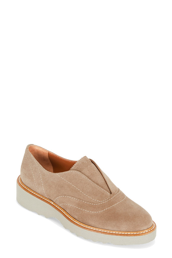 Aquatalia Kaleigh Taupe Suede Slip-On Oxford