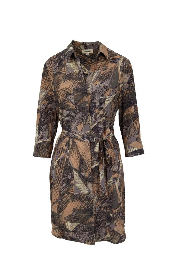 L'Agence Stella Mayari Print Silk Shirt Dress
