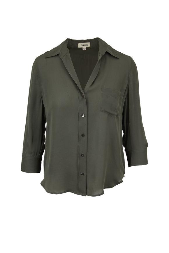L'Agence Ryan Beetle Georgette Three-Quarter Sleeve Blouse
