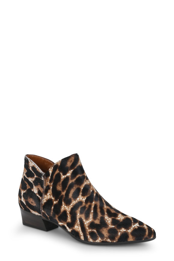 Aquatalia Faydell Leopard Print Fur Ankle Boot, 40mm