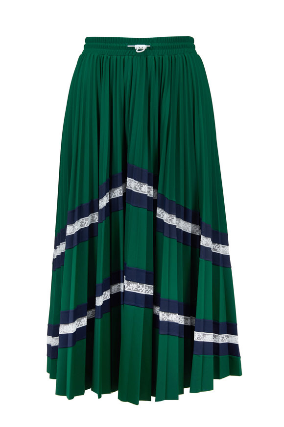 Valentino Green & Navy Jersey Lycra Plissé Midi Skirt