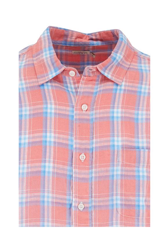 Faherty Brand Ventura New Coral Plaid Linen Sport Shirt