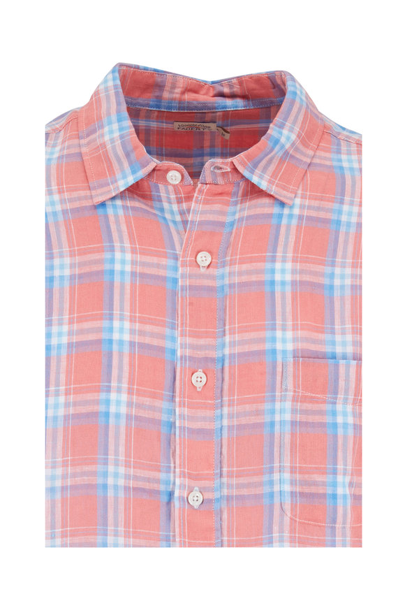 Faherty Brand Ventura New Coral Plaid Linen Sport Shirt