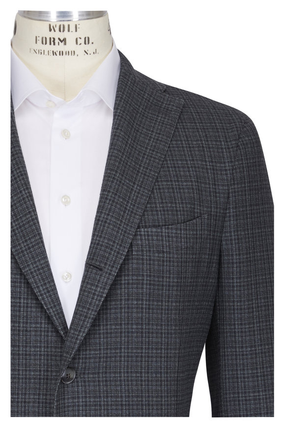Boglioli Green Plaid Virgin Wool & Silk Sportcoat