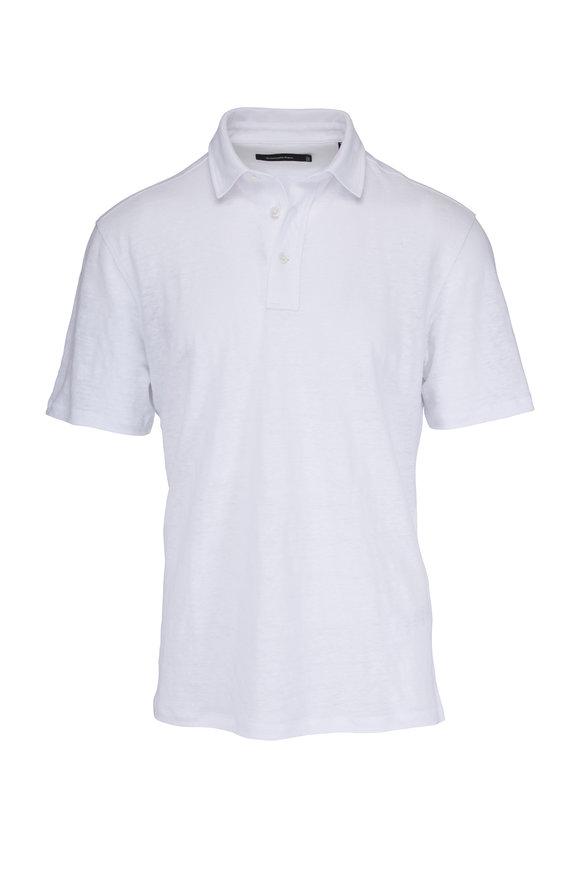 Ermenegildo Zegna White Linen Polo