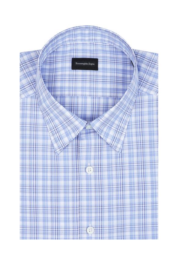 Ermenegildo Zegna Light Blue Plaid Sport Shirt