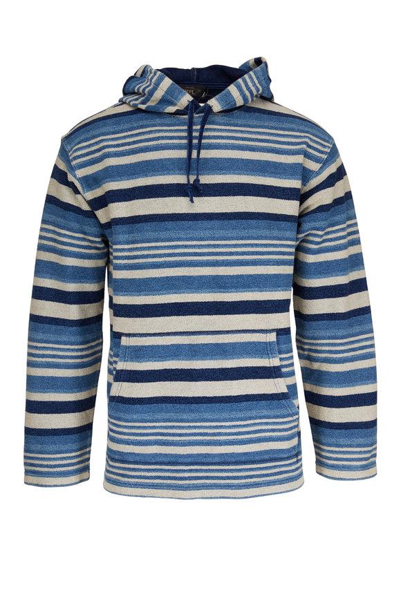 RRL Indigo Striped French Terry Sweatshirt