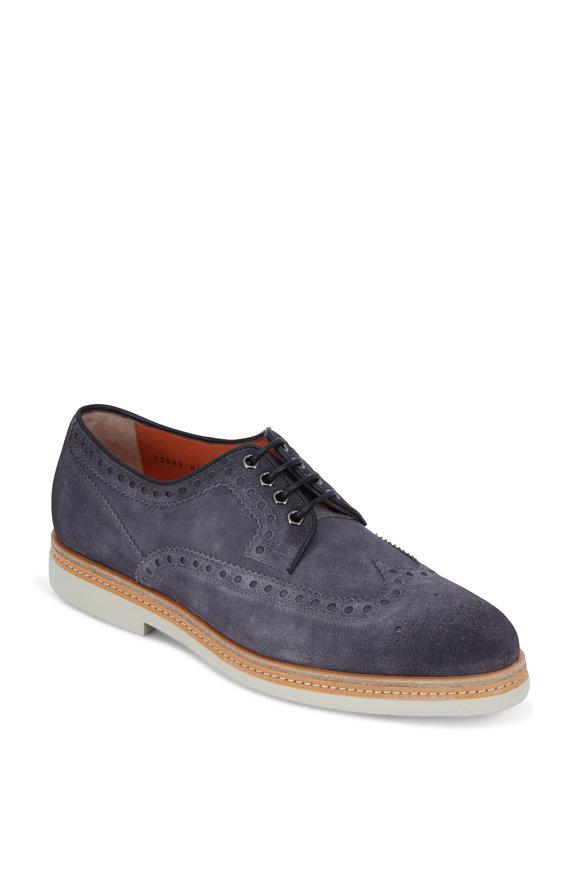 Santoni Harley Gray Suede Wingtip Derby Shoe