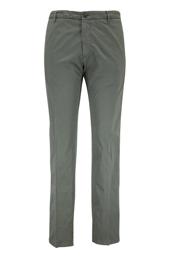 J.W. BRINE Olive Green Stretch Cotton Flat Front Pant