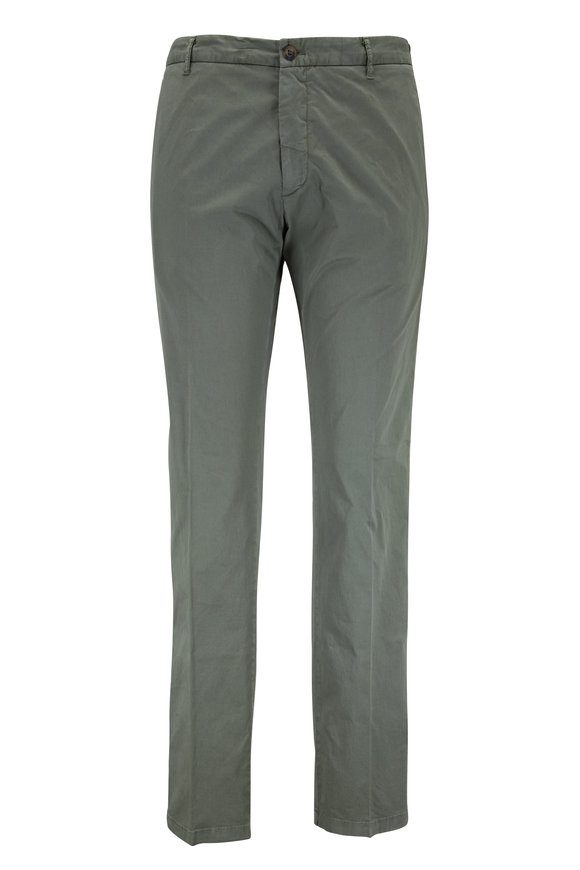 J.W. Brine Olive Green Stretch Cotton Flat Front Pant