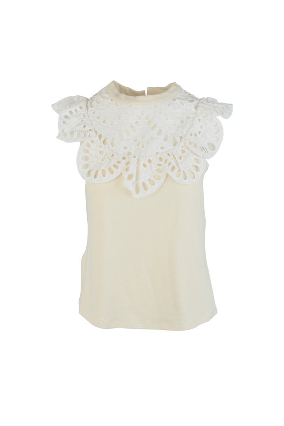 See by Chloé Buttercream Eyelet Lace Detail Knit Top