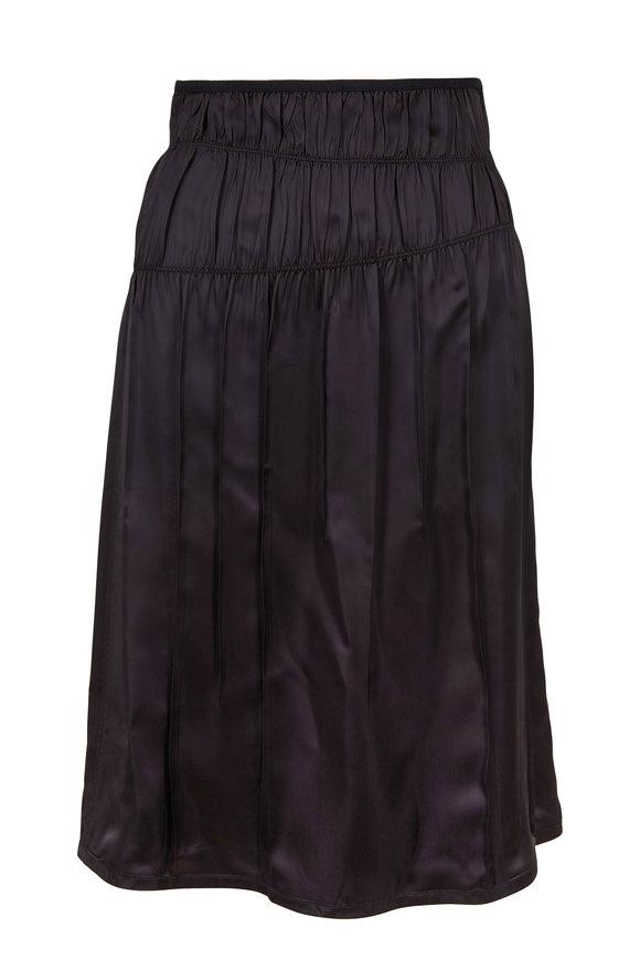 Helmut Lang Black Ruched Slip Skirt