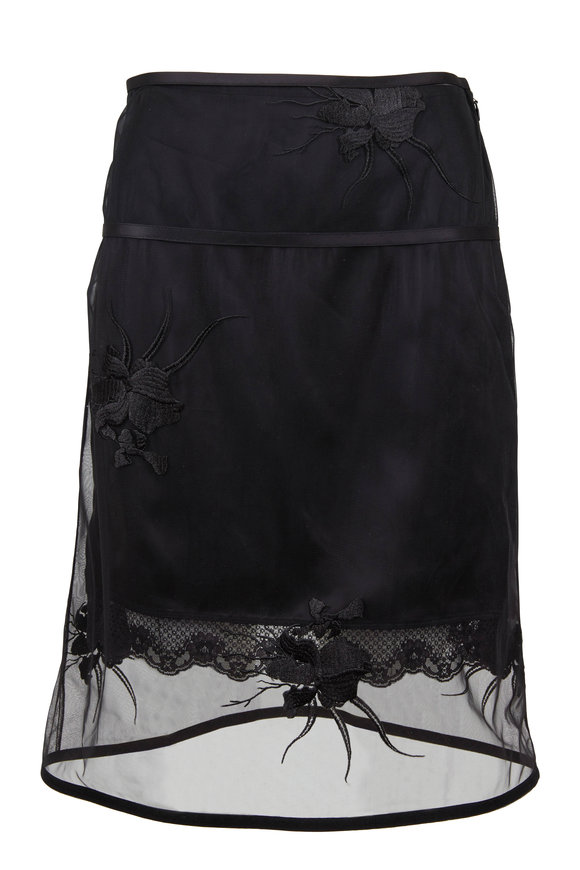 Helmut Lang Black Layered Orchid Embroidery Skirt