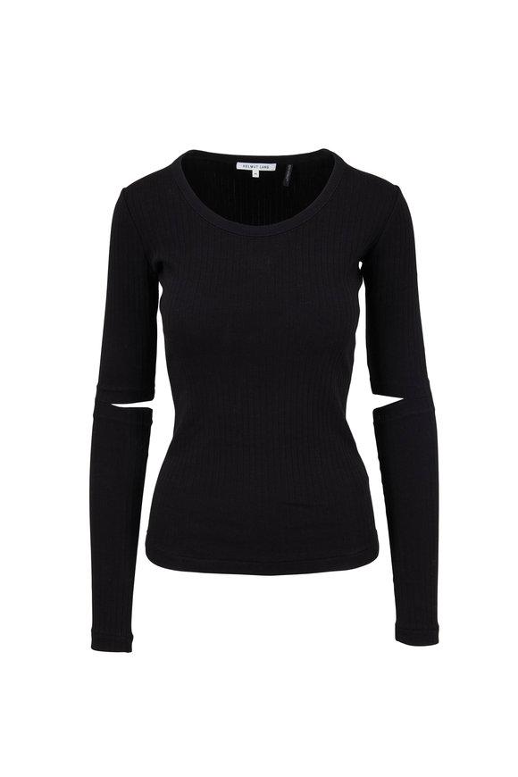 Helmut Lang Black Wide Rib Long Sleeve T-Shirt